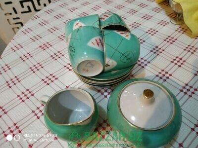 Чайный сервиз, 6 блюдцев, 4+1 чашек, сахарница и м
