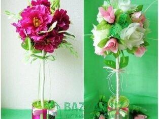 Цветы из бумаги, букет из конфеты
