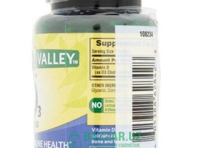 D3 100шт. Spring Valley Vitamin D3 Softgels, 1000