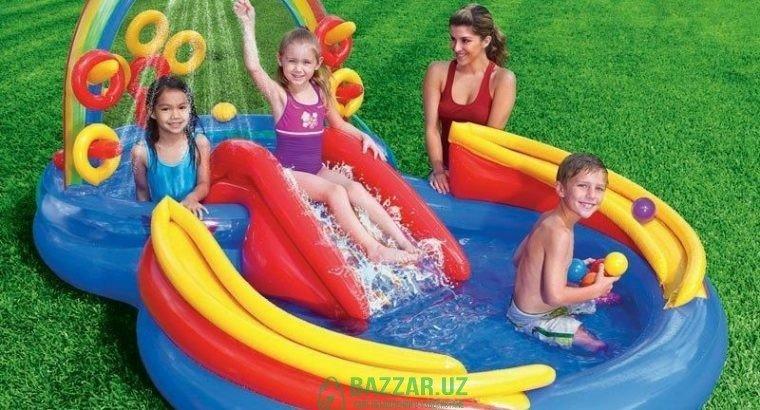 Детский надувной бассейн с горками. БЕСПЛАТНО Дост