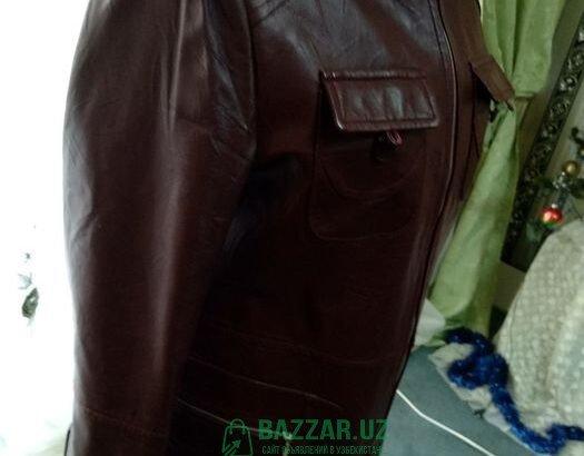 Кожанная куртка бардовая р.42-44+подарок куртка чё